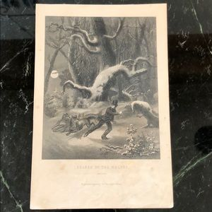 "Chased by the Wolves 8.5"" x 5.5"" Antique Engraving"